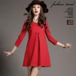 [พร้อมส่ง] เสื้อผ้าแฟชั่นเกาหลี เดรสแฟชั่นเกาหลี ผ้า high elastic ตัดต่อผ้าลูกไม้ด้านหลัง มีกระเป๋าข้างลำตัว แบบสวม สีแดง