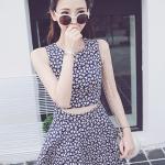 [พร้อมส่ง] เสื้อผ้าแฟชั่นเกาหลีราคาถูก เดรสแฟชั่นเกาหลี ผ้า Denim มีซิบซ่อนด้านหลัง ตัดต่อเหมือนใส่ชุด 2 ชิ้น ด้านหน้าไม่ได้เย็บติด สีตามภาพ