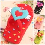 case iphone 5 เคสไอโฟน5 เคสรองเท้าแตะซิลิโคนน่ารักๆ ลายหัวใจ สีสวย น่ารักๆ