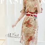 [พร้อมส่ง] เสื้อผ้าแฟชั่นเกาหลี เดรสสีครีมพิมลายกราฟฟิครูปผีเสื้อและใบไม้สไตล์ย้อนยุค แขนทรงระบายแขนกระดิ่ง