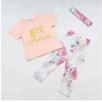 เสื้อ+กางเกง 16206 สีชมพู แพ็ค 4 ชุด ไซส์ 70-80-90-100 (เลือกไซส์ได้)