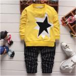 เสื้อ+กางเกง สีเหลือง แพ็ค 4ชุด ไซส์ 90-100-110-120