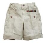KPSP238 Kidsplanet กางเกงเด็กชายขาสั้น สีครีม ผ้าลินิน ปักแปะแถบธงชาติ สไตล์นาวี เรียบง่ายแต่เท่ห์ครับ 100% Cotton Size 12M/18M/24M