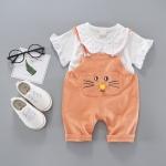 ชุดเซตเอี๊ยมลายหน้าแมวสีส้ม [size 6m-1y-2y-3y]