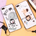 เคส iphone 7 plus พลาสติกสกรีนการ์ตูน พร้อมแหวานในตัว + สายคล้อง ราคาถูก