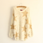[พร้อมส่ง] MM2856 เสื้อกันหนาวไหมพรมขน ปักด้ายลายดาว Star Sweater