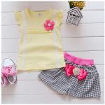 เสื้อ+กางเกง สีเหลือง แพ็ค 4ชุด ไซส์ S-M-L-XL