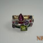 แหวนเซตพลอยแฟนซี(Silver ring fancy gems)