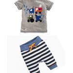 เสื้อ+กางเกง 16013 สีเทา แพ็ค 5 ชุด ไซส์ 80-90-100-110-120 (เลือกไซส์ได้)
