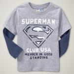 GP105 baby Gap เสื้อผ้าเด็ก เสื้อยืดแขนยาว เนื้อนุ่ม สีเทาต่อแขนสีฟ้า สกรีน Superman เหลือ Size 18M