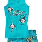 GNL083 baby Gap เสื้อผ้าเด็ก ชุดลำลอง เสื้้อกล้ามและกางเกงขาสั้น สกรีนลายลิงจ๋อ go bananas สีฟ้าสด Size 95/100/110