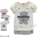 M3735 Strawberry เสื้อยืดตัวยาวสำหรับเด็กหญิง ต่อชาย สีครีม ปักแปะน้องหมีลายริ้ว ปักเลื่อม marine และสมอเรือ เหลือ Size 7/9/11/13