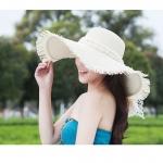 [พร้อมส่ง] H7262 หมวกสานปีกกว้าง ขอบรุ่ย ตกแต่งด้วยโบลูกไม้ กันแดดได้ดี Beach Hat