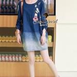 [พร้อมส่ง] เสื้อผ้าแฟชั่นเกาหลี เดรสยีนส์สีน้ำเงิน เนื้อยีนส์อย่างดี เนื้อนุ่มใส่สบาย น่ารักๆ ด้วยงานสกรีนลาย Goofy ทรงหลวมๆ ใส่ง่ายน่ารักมากคะ