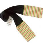 KRLG011 b2w2 เสื้อผ้าเด็กแบรนด์เกาหลี เลกกิ้งสีดำ ต่อปลายขาด้วยผ้าไหมพรมถักโทนสีเขียวสลับเหลือง เนื้อเนียนนุ่ม เหลือ Size 5