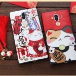 เคส Huawei Mate 9 พลาสติกลายแมวกวักนำโชค Lucky Neko เฮงๆ พร้อมที่ห้อยเข้าชุด ราคาถูก