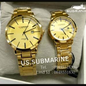 นาฬิกาคู่ US submarine รุ่น J117MD เรือนสีทองหน้าปัดสีทองแพคคู่