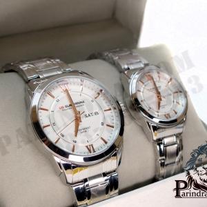 นาฬิกาคู่ US submarine รุ่น J099DD ของแท้ 100% ตัว Accuratc Timcpiece สีเงินหน้าปัดขาวเข็มสีPINK GOLD
