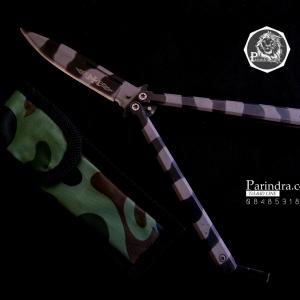 มีดบาลีซอง Balisong มีดปีกผีเสื้อ Navy Butterfly ด้ามจับทรงหกเหลี่ยม ขนาด 8 7/8 นิ้ว BLA001