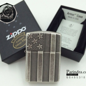 """ไฟแช็ค Zippo แท้ ลายธงชาติอเมริกา ตัวเกราะหนา """"Armor US Flag Antique Silver Plate """" # Zippo Code 28974 แท้นำเข้า 100%"""