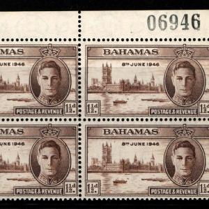 แสตมป์ BAHAMAS ปี 1946 KGVI บล๊อค 4 ติดขอบตัวเลข สวย และเก่ามากๆ