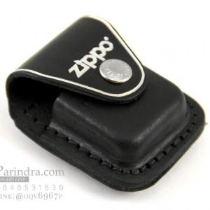 กระเป่าหนังใส่ไฟแช็ค Zippo แท้ - Genuine Zippo LPCB, Black Leather Lighter Pouch with Clip แบบคลิปเหน็บ