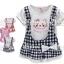 M3729 Strawberry เสื้อยืดตัวยาว เด็กหญิง สีขาว ปักแปะน้องเหมียว Happy Cat ด้านนอกเป็นเอี๊ยมลายสก็อตผ้าคอตตอนเย็บติดกับตัวเสื้อเหลือ Size 7/11/13 thumbnail 1
