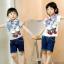ND1004 BBQ เสื้อยืดเด็กแนวสไตล์เกาหลี สกรีนลายโรลเลอร์สเก็ต เก๋ไก๋ มีสีขาว และ สีเทา Size 90/100/110/120/130 thumbnail 2