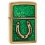 """ไฟแช็ค Zippo แท้ """"Zippo 29243, Horseshoe & Clovers Emblem, Brushed Brass Finish """" แท้นำเข้า 100% thumbnail 1"""