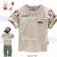 M2217-G Miki Golf เสื้อยืดเด็ก สีเทา ด้านหน้า ปักแปะ Double.B แขนขวาปัก หมี miki house คาดลายดาวแดง เหลือ Size 90 thumbnail 1