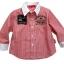KP124 Kidsplanet เสื้อผ้าเด็กชาย เชิ้ตแขนยาว ลายริ้วสีแดง ตัดปก+ปลายแขนสีขาว ปักแปะตราสัญลักษณ์ KIDSPLANET 2004 เหลือ Size 18M thumbnail 1