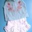 EXG081 Baby Q ชุดเด็กผู้หญิง เซต 3 ชิ้น เสื้อแขนกุดสีฟ้าปักแปะดอกไม้+เสื้อสายเดี่ยวสีขาว+กางเกงขาสั้นสีขาวระบายลูกไม้ Size 12M thumbnail 1