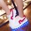 รองเท้าผ้าใบมีไฟ LED สีขาวคาดแดง / คาดดำ (เปลี่ยนสีได้ 7 สี) thumbnail 1