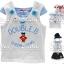 M2113 mikihouse เสื้อยืดเด็กหญิง เนื้อนิ่ม สีขาว ต่อแขนล้ำลายริ้วสีฟ้า ปักแปะน้องหมีใส่กระโปรง Double.B CHEERLEADING เหลือ Size 80/100/110 thumbnail 1