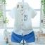 ชุดเซตเสื้อเชิ้ตแขนสั้นสีขาวลายกระต่าย+กางเกงขาสั้นสีฟ้า แพ็ค 3 ชุด [size 6m-1y-2y] thumbnail 1