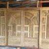 ประตูไม้สักบานเลื่อนฟักแกะ บานเลื่อน ชุด4ชิ้น ไม้สักอบแห้ง เกรดB+ รหัส BBB01