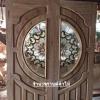 ประตูไม้สักกระจกนิรภัย แตงโม เกรดA รหัส AA15