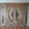 ประตูไม้สักกระจกนิรภัย แตงโมเต็มบาน ชุด 4 ชิ้น เกรดA รหัส NOT12
