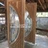 ประตูไม้สักกระจกนิรภัยชุด4ชิ้น เกรดB+, B รหัส BBB16