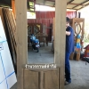 ประตูไม้สักกระจกนิรภัยครึ่งบาน เกรดA รหัส AA12
