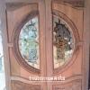 ประตูไม้สักกระจกนิรภัย แกะองุ่น เกรดA รหัส AA26