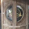 ประตูไม้สักกระจกนิรภัย แกะหงส์มังกรปลา เกรดA รหัส AA14