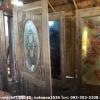 ประตูไม้สักกระจกนิรภัยวงรี กระจกแกะลายปลา เกรดB+, B รหัส AB22