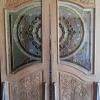 ประตูไม้สักกระจกนิรภัย ปีกนก เกรดA รหัส AA02