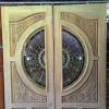 ประตูไม้สักกระจกนิรภัย แกะดอกไม้ เกรดA รหัส AA10