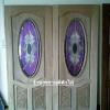 ประตูไม้สักกระจกนิรภัยวงรี แกะองุ่น เกรดA รหัส AA20
