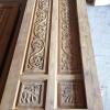 ประตูบานเฟี้ยมไม้สักกระจกนิรภัย เกรดB+, B รหัส AB18