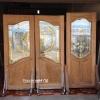 ประตูไม้สักกระจกนิรภัย ปีกนก เกรดA รหัส AA19