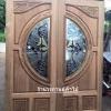 ประตูไม้สักกระจกนิรภัย แกะฟักทอง เกรดA รหัส AA09