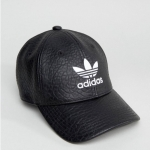 adidas Originals Trefoil Cap In Black leather